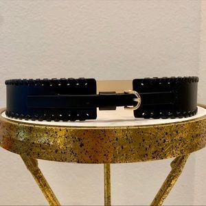 Ann Taylor Wild Whipstitch Black Leather Belt